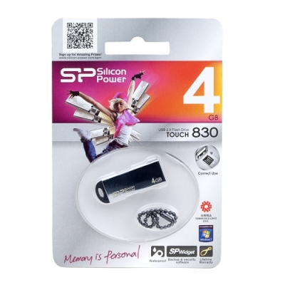 Silicon Power Touch 830 4GB USB 2.0 Flash Drive (Silver)